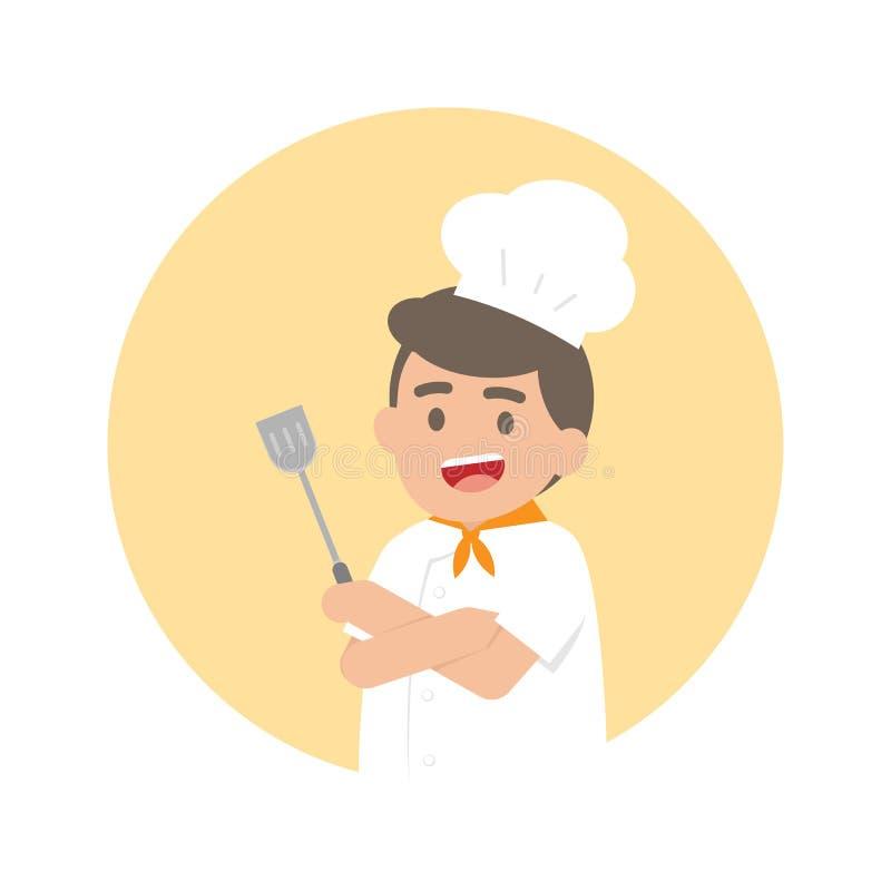 Szczęśliwy fachowy szefa kuchni mężczyzna, Śliczna charakteru wektoru ilustracja ilustracji