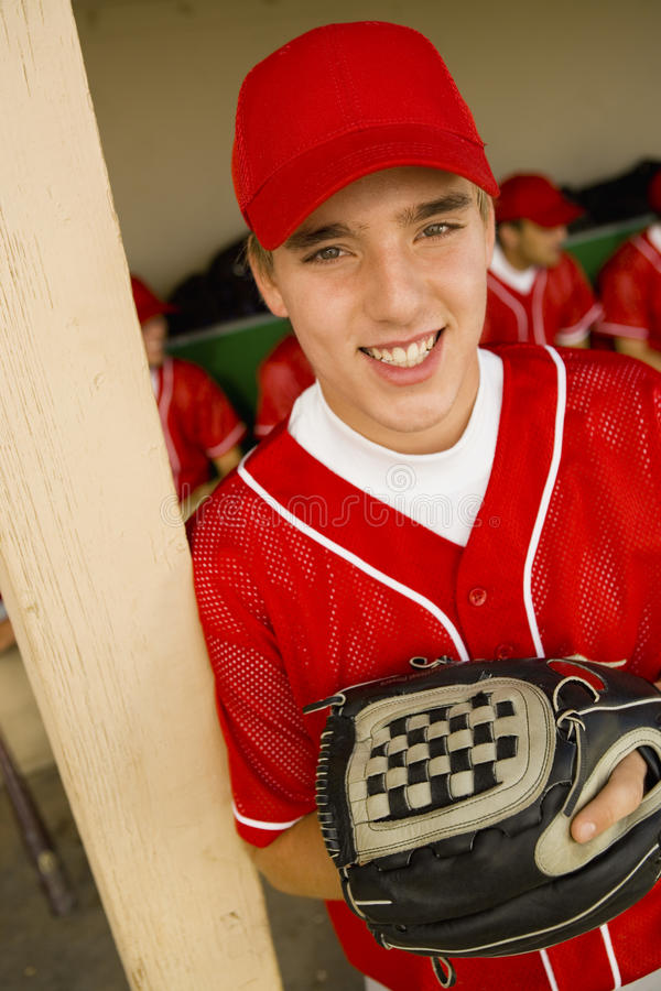 Szczęśliwy gracz baseballa obrazy royalty free