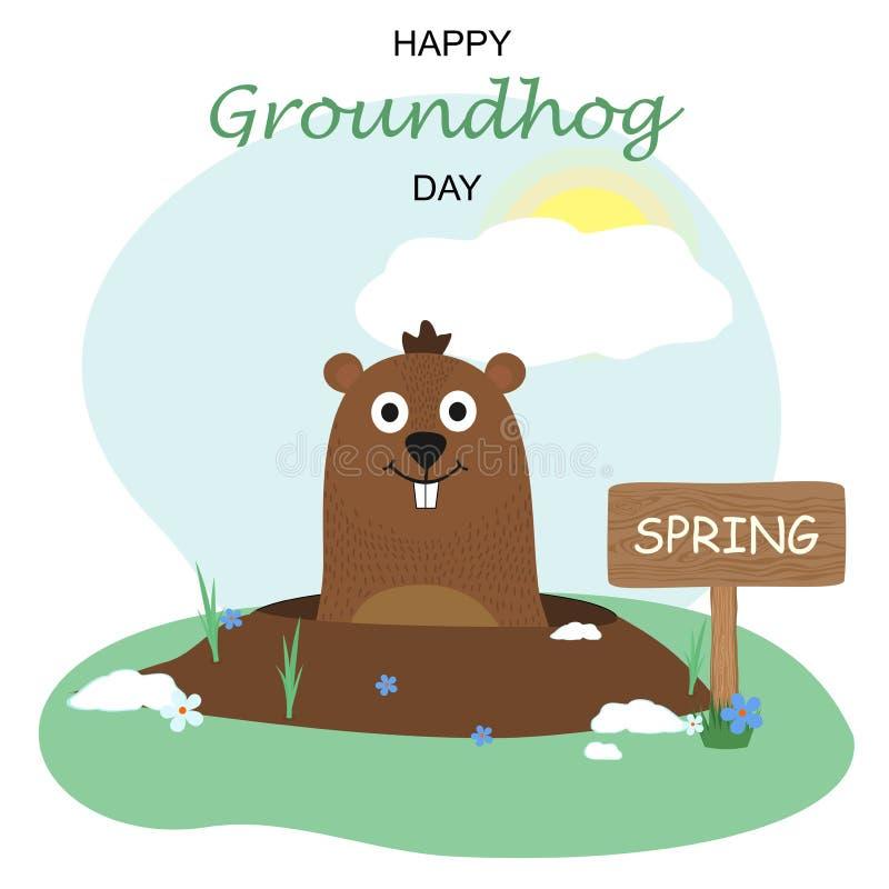Szczęśliwy Groundhog dnia projekt z ślicznym groundhog ilustracja wektor
