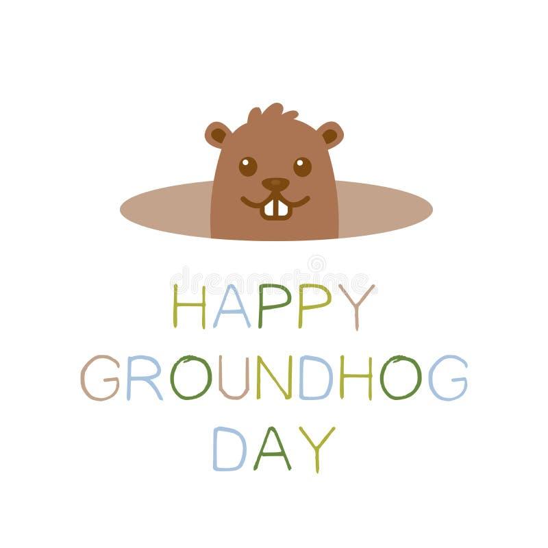 Szczęśliwy Groundhog dzień, powitanie wiosna Śliczny kreskówki groundhog z kolorowym pastelowym tekstem pojedynczy białe tło ilustracja wektor