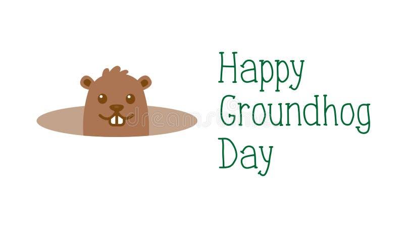 Szczęśliwy Groundhog dzień, powitanie wiosny kartka z pozdrowieniami Śliczny kreskówki groundhog z ręcznie pisany tekstem pojedyn royalty ilustracja