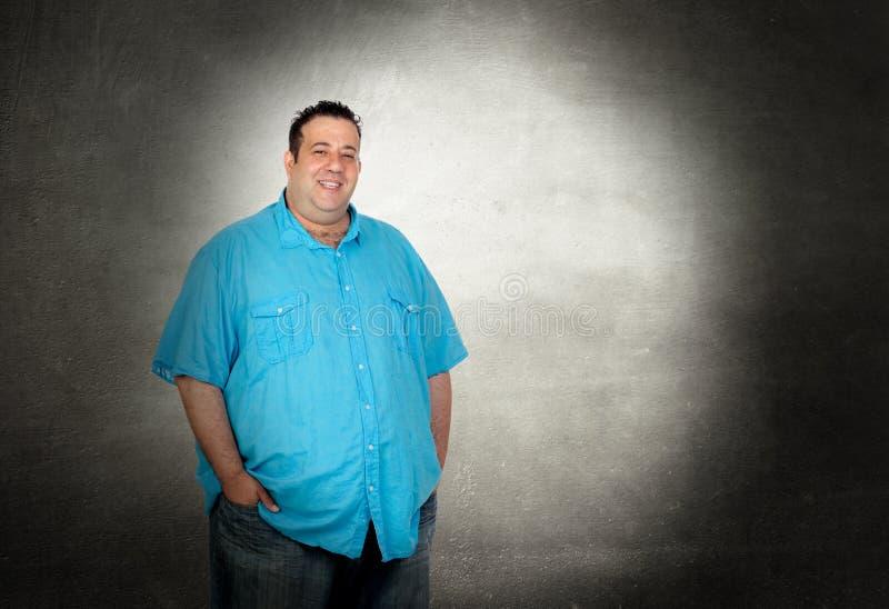 Szczęśliwy gruby mężczyzna zdjęcia stock