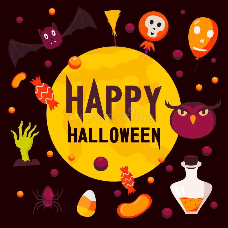 Szczęśliwy Halloween dnia pojęcia tło, mieszkanie styl ilustracji