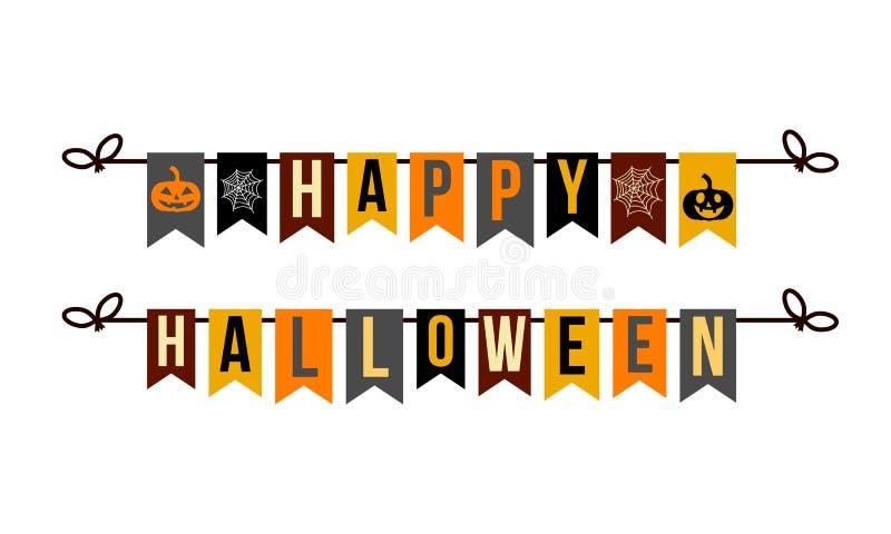 Szczęśliwy Halloween, girlanda z list baniami i pająk siecią ilustracji