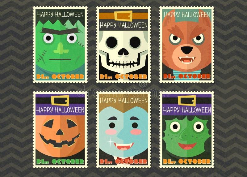 Szczęśliwy Halloween kartka z pozdrowieniami z duch kreskówki kolekcją ilustracji