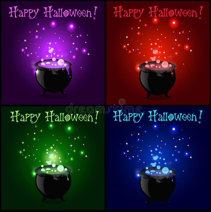 Szczęśliwy Halloween kartka z pozdrowieniami set Czarownica kocioł z wrzącym iskrzastym napojem miłosnym royalty ilustracja