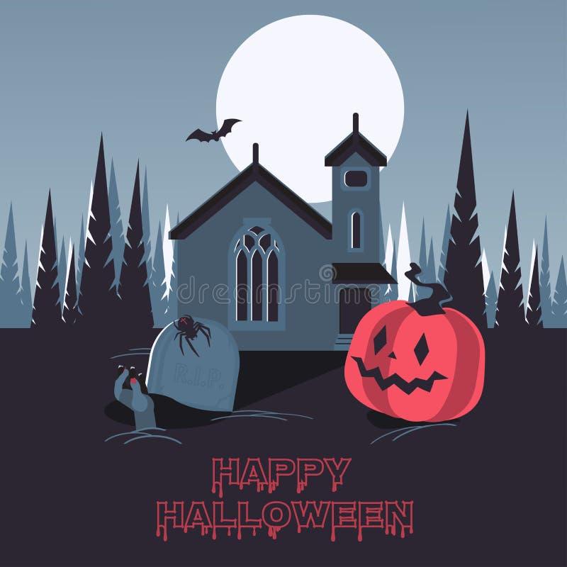 Szczęśliwy Halloween na cmentarzu royalty ilustracja