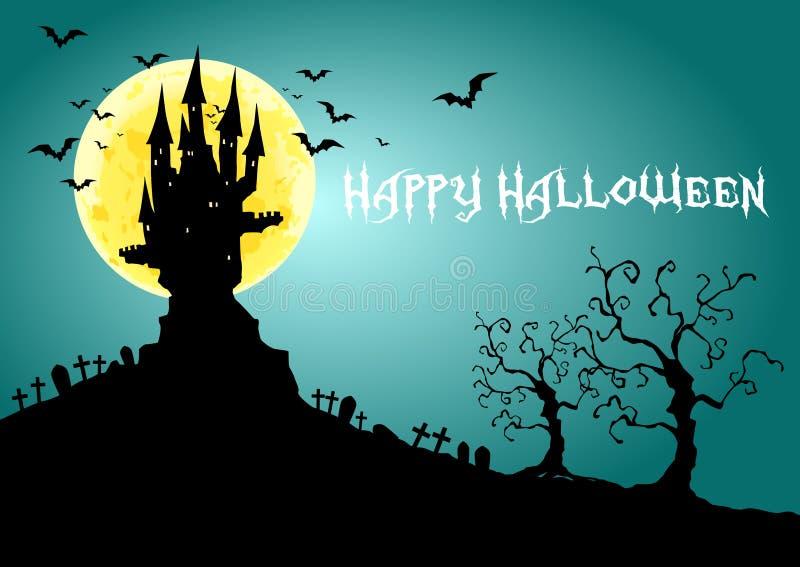Szczęśliwy Halloween, Nawiedzający kasztel przy księżyc w pełni nocą, ilustracja royalty ilustracja