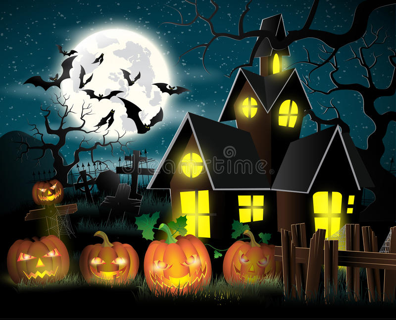 szczęśliwy Halloween plakat ilustracji