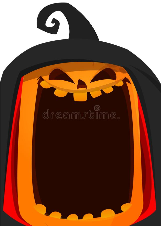 szczęśliwy Halloween plakat Wektorowa ilustracja dźwigarki o bani latarniowa głowa royalty ilustracja