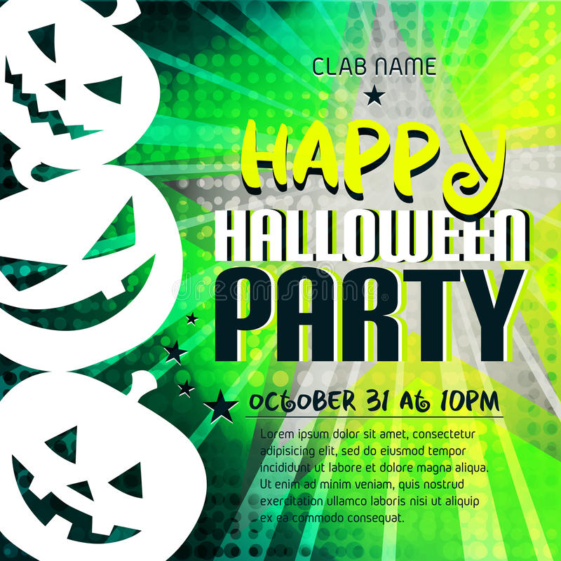 Szczęśliwy Halloween przyjęcia plakat z baniami i miejsce dla teksta royalty ilustracja