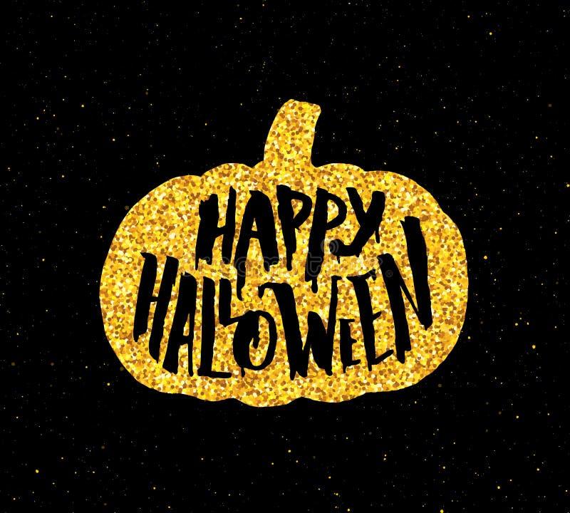 Szczęśliwy Halloween przyjęcia sztandar z złocistą typografią ilustracji
