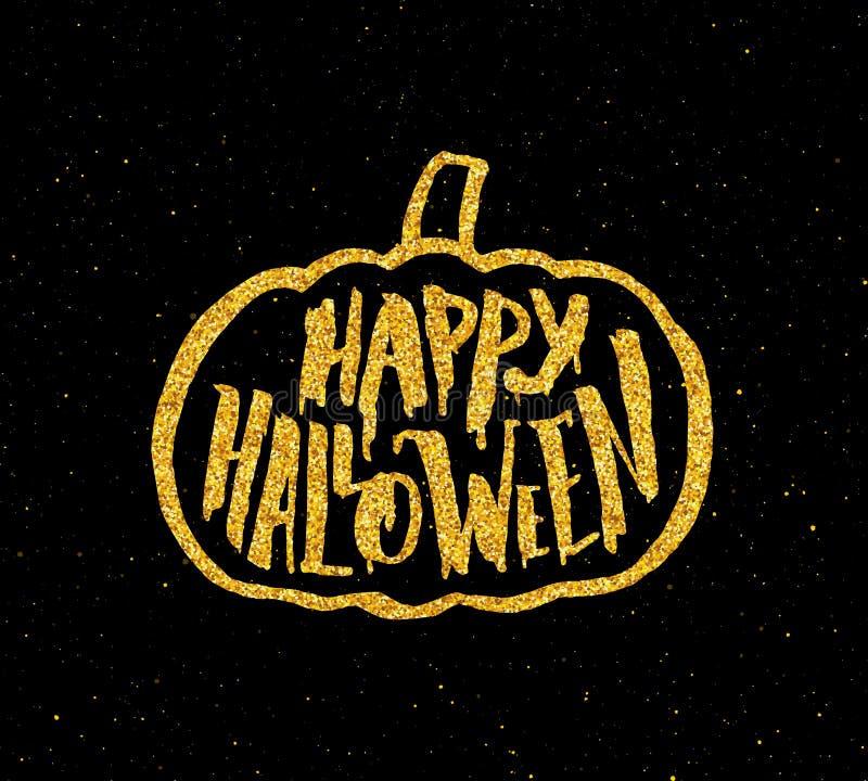 Szczęśliwy Halloween przyjęcia sztandar z złocistą typografią royalty ilustracja