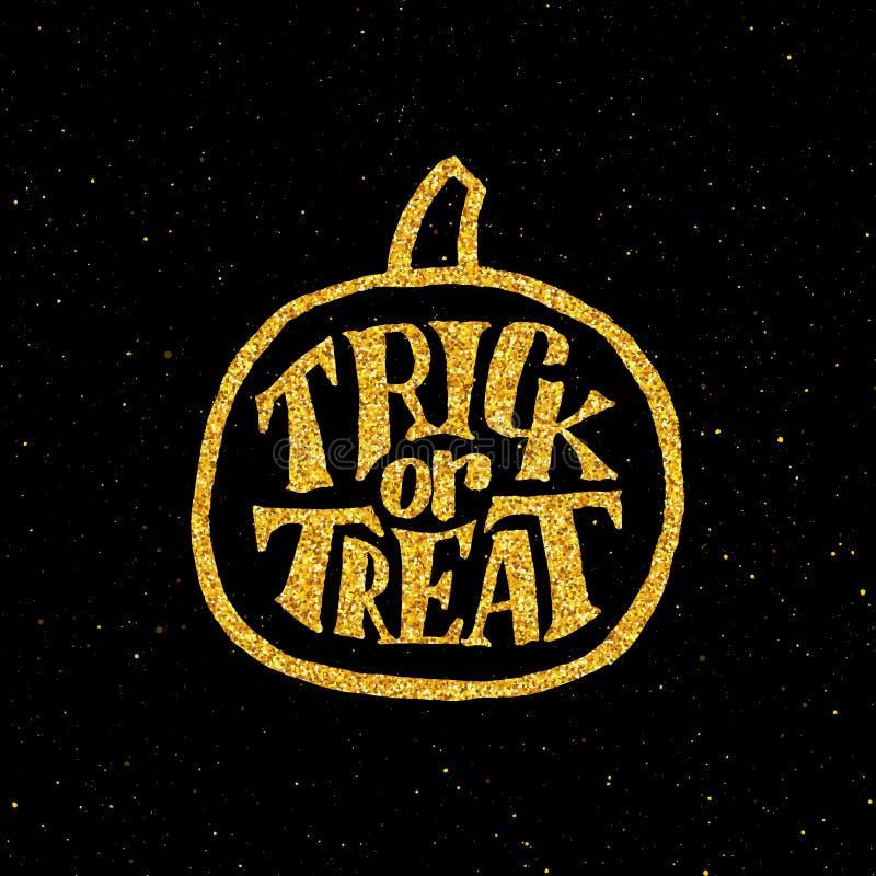 Szczęśliwy Halloween przyjęcia sztandar z złocistą typografią ilustracja wektor
