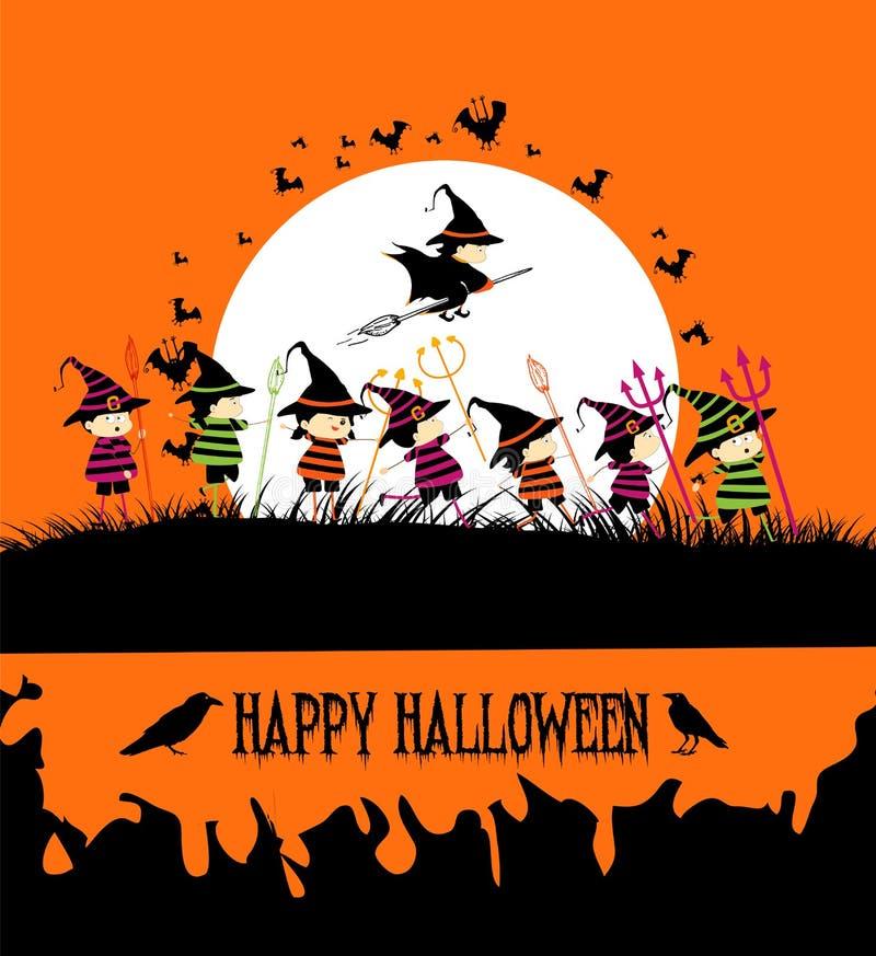Szczęśliwy Halloween przyjęcie z dzieciakami ilustracji