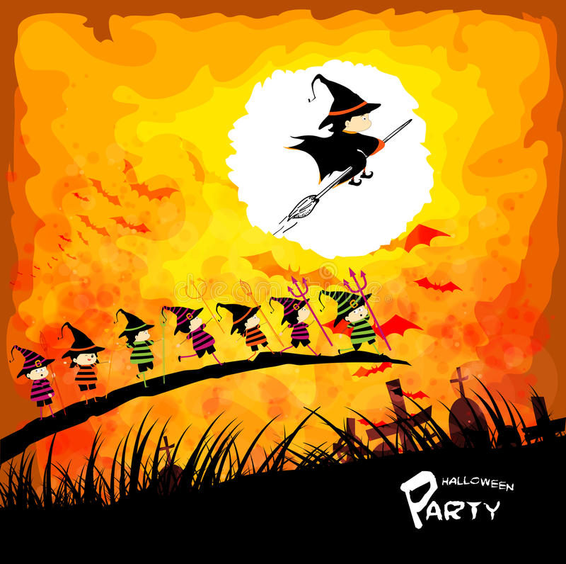Szczęśliwy Halloween przyjęcie z dzieciakami pod księżyc royalty ilustracja