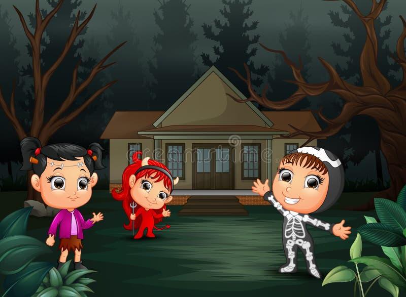 Szczęśliwy Halloween przyjęcie z grupą dzieci w różnym costumeHappy Halloween przyjęciu z grupą dzieci w różnym kostiumu ilustracja wektor