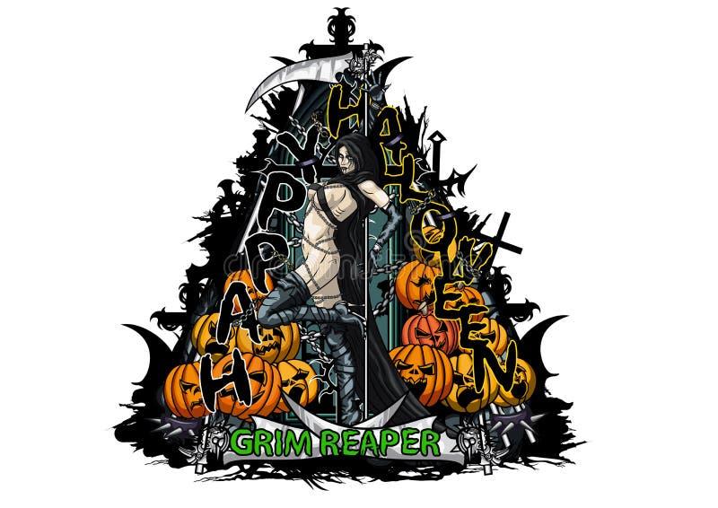 Szczęśliwy Halloween trójboka emblemat z Ponurej żniwiarki pompą i dziewczyną ilustracji