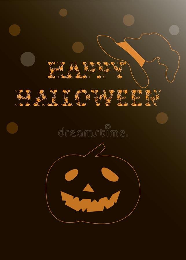 Szczęśliwy Halloween z banią, kapelusz ilustracja wektor