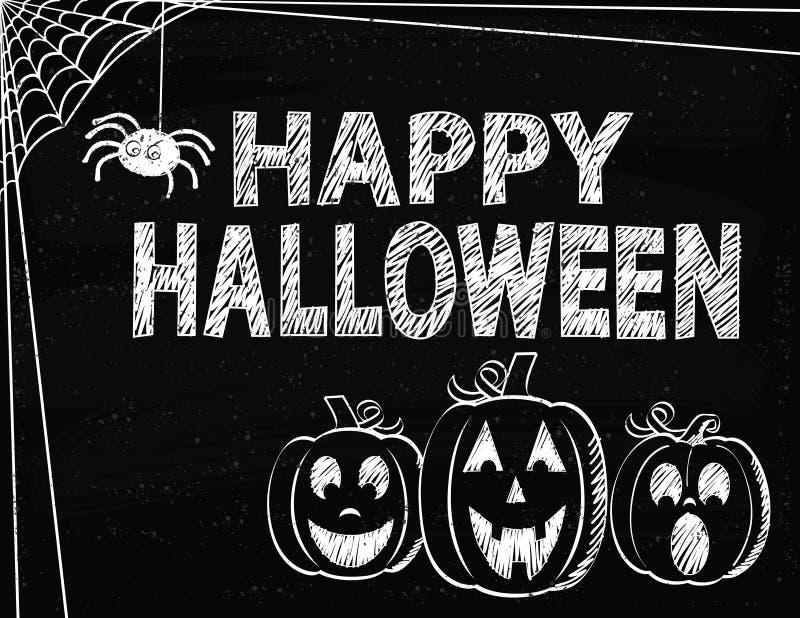 Szczęśliwy Halloween z Jack O'Lanterns i pająk sieciami ilustracja wektor