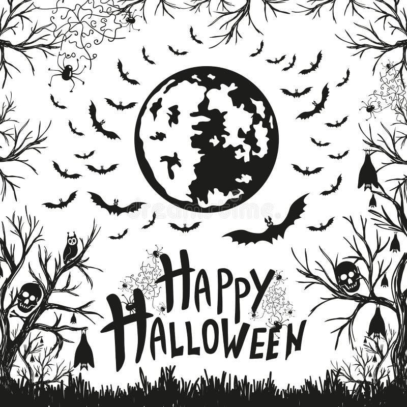 Download Szczęśliwy Halloween Znak, Ikony Dla Halloween I Ilustracja Wektor - Ilustracja złożonej z wakacje, moonlight: 57665693