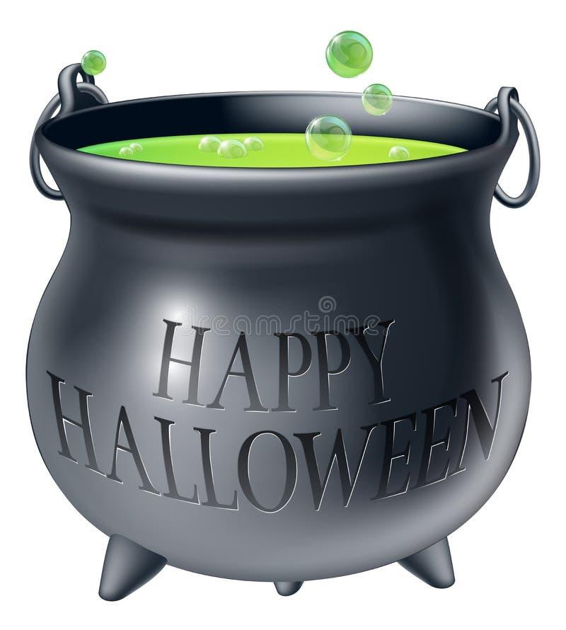 Szczęśliwy Halloweenowy czarownica kocioł royalty ilustracja