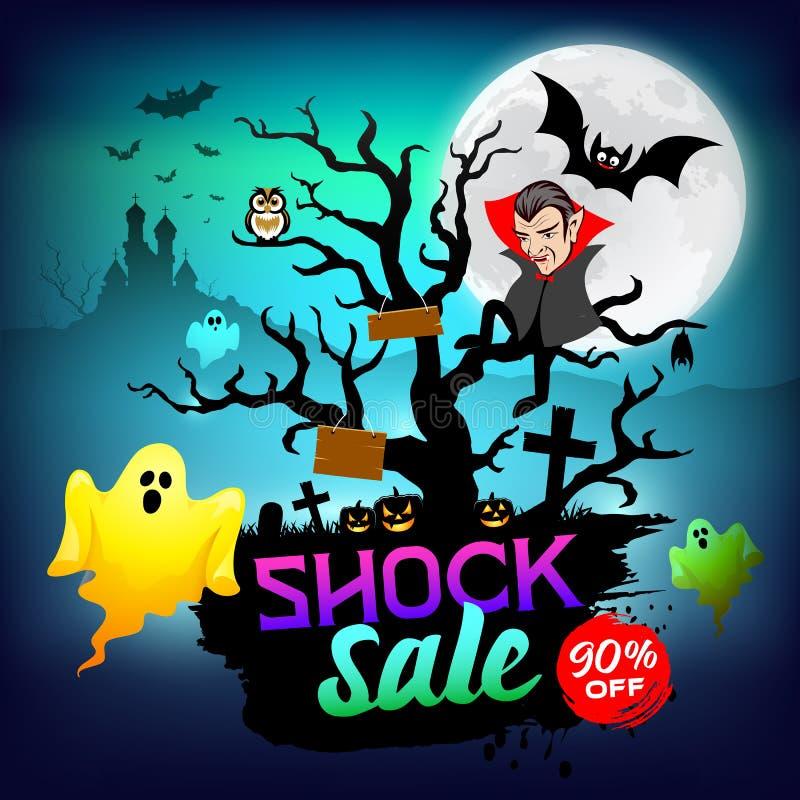 Szczęśliwy Halloweenowy Dracula i duch szokujemy sprzedaży pojęcia projekt ilustracja wektor