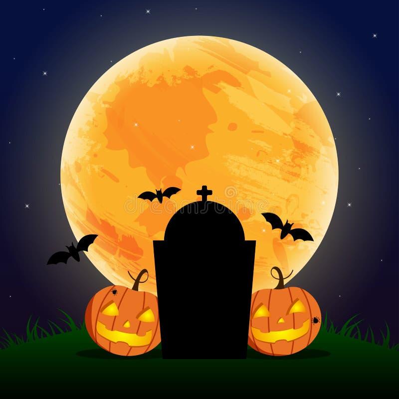 Szczęśliwy Halloweenowy dzień, nietoperz i pająk, Śliczny dyniowy uśmiechu widmo ilustracja wektor