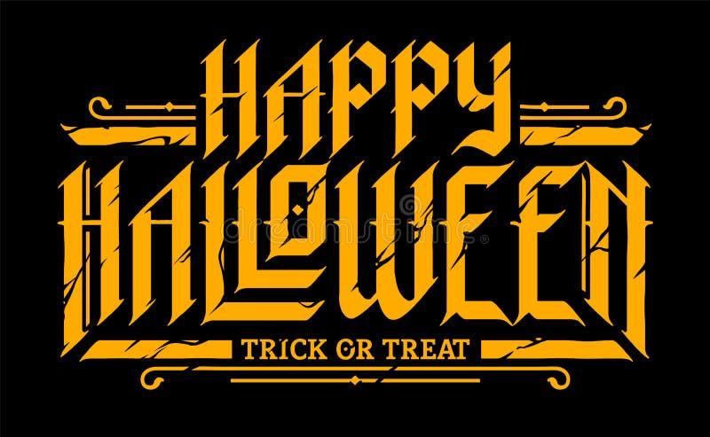 Szczęśliwy Halloweenowy Gocki literowanie ilustracji