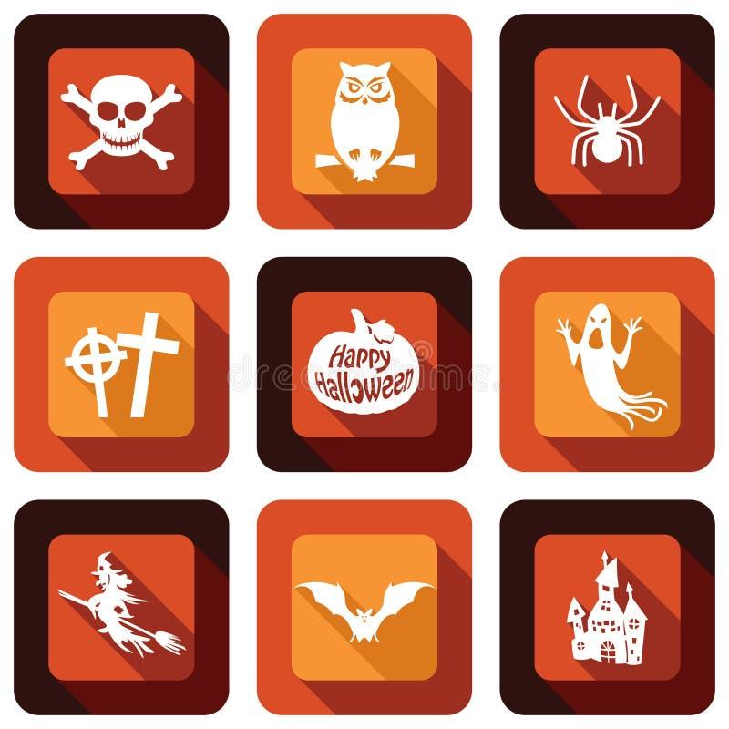 Szczęśliwy Halloweenowy ikona projekta set ilustracji