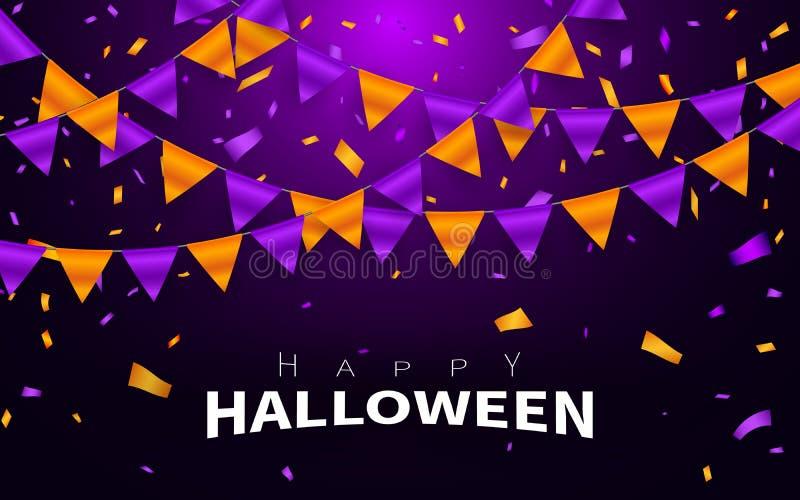 Szczęśliwy Halloweenowy Karnawałowy tło Pomarańczowa purpura zaznacza girlandę, confetti pojęcie dla partyjnego projekta Świętowa ilustracja wektor