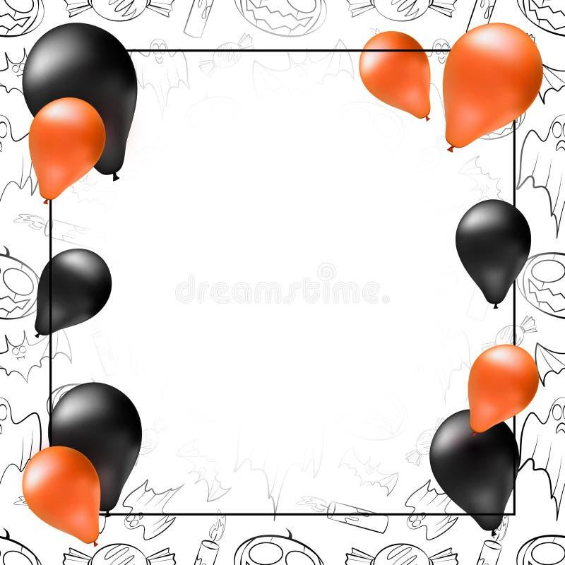 Szczęśliwy Halloweenowy kartka z pozdrowieniami, plakat lub sztandaru szablon, royalty ilustracja