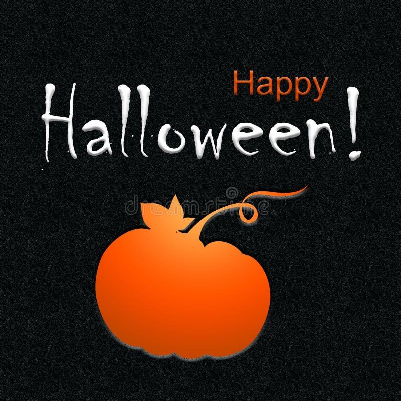 Szczęśliwy Halloweenowy kartka z pozdrowieniami z Pomarańczową banią textured tłem i ilustracji