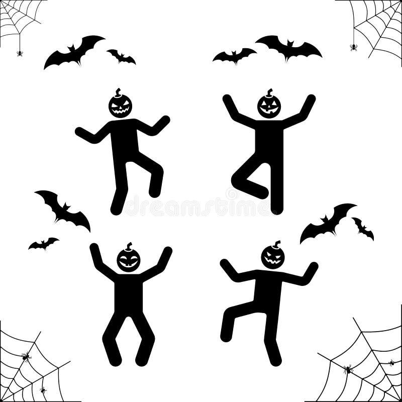 Szczęśliwy Halloweenowy kij postaci bani głowy piktogram Wektorowa ilustracja sieć, nietoperz, pająk, stickman wakacje ikona royalty ilustracja
