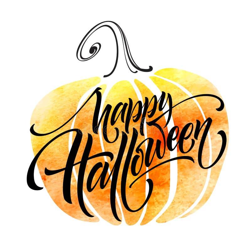 Szczęśliwy Halloweenowy literowanie na akwareli tle Ręcznie pisany nowożytna kaligrafia, szczotkarscy malujący listy wektor ilustracji