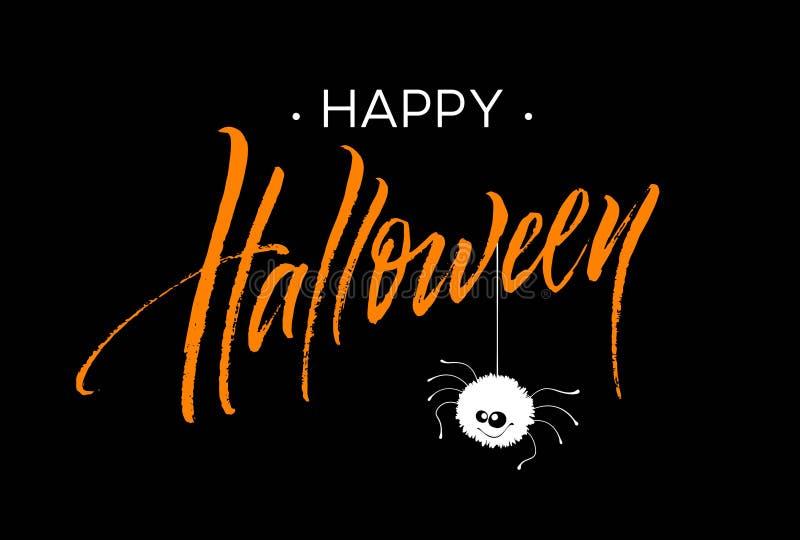 Szczęśliwy Halloweenowy literowanie Wakacyjna kaligrafia dla sztandaru, plakat, kartka z pozdrowieniami, partyjny zaproszenie rów ilustracja wektor