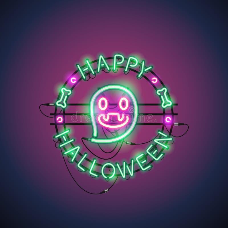 Szczęśliwy Halloweenowy Neonowy duch royalty ilustracja