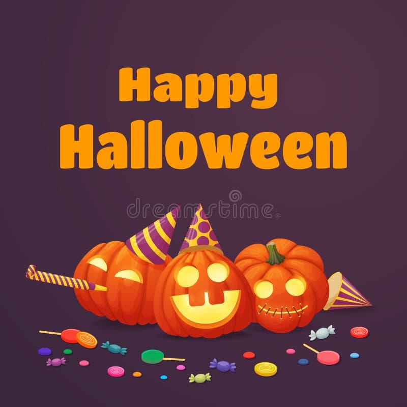 Szczęśliwy Halloweenowy Plakatowy projekt Wychodzić banie w partyjnych kapeluszach z cukierkami ilustracji