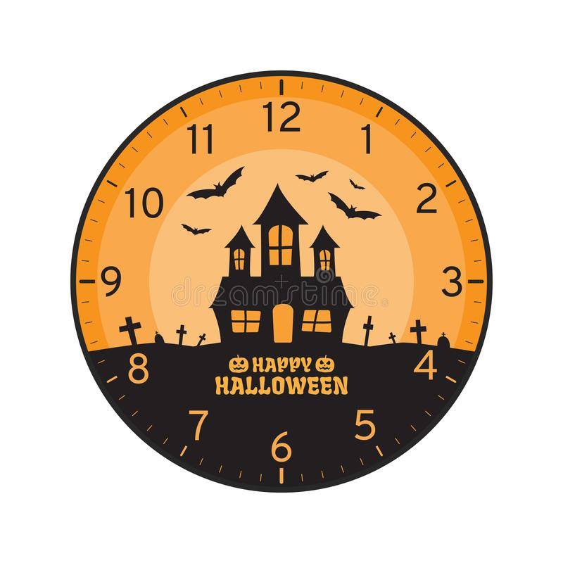 Szczęśliwy Halloweenowy pojęcie, Printable Ścienny Zegarowej twarzy szablon ilustracji