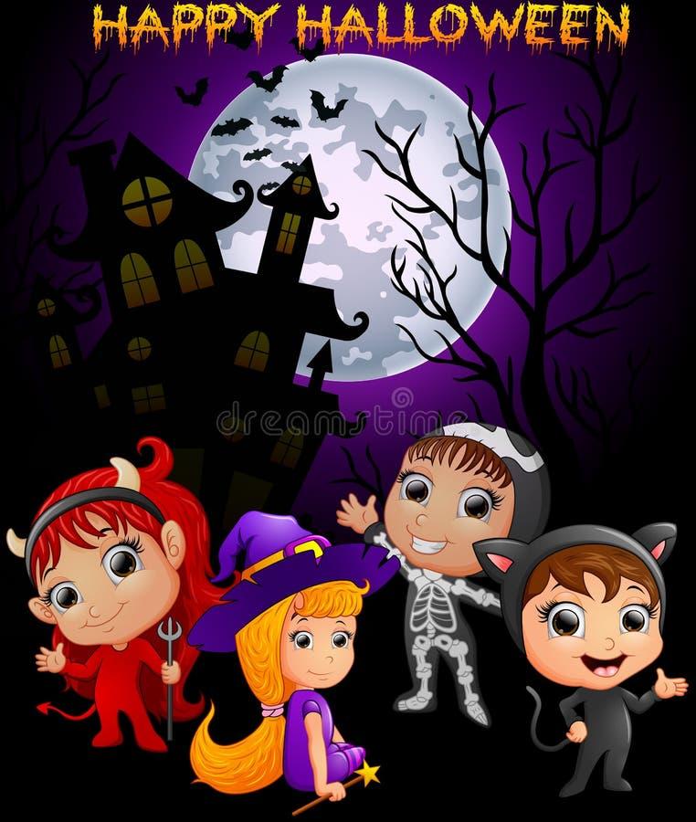 Szczęśliwy Halloweenowy purpurowy tło z dziećmi w Halloweenowym kostiumu royalty ilustracja