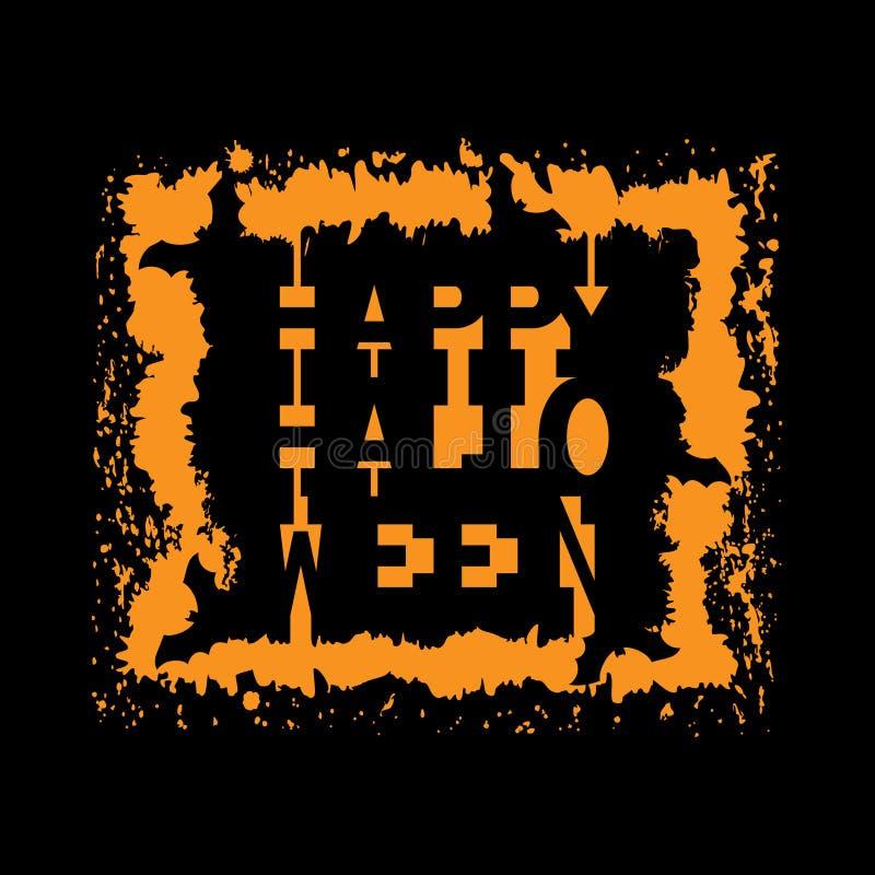 Szczęśliwy Halloweenowy rocznika tło Typografia sztandar ilustracja wektor