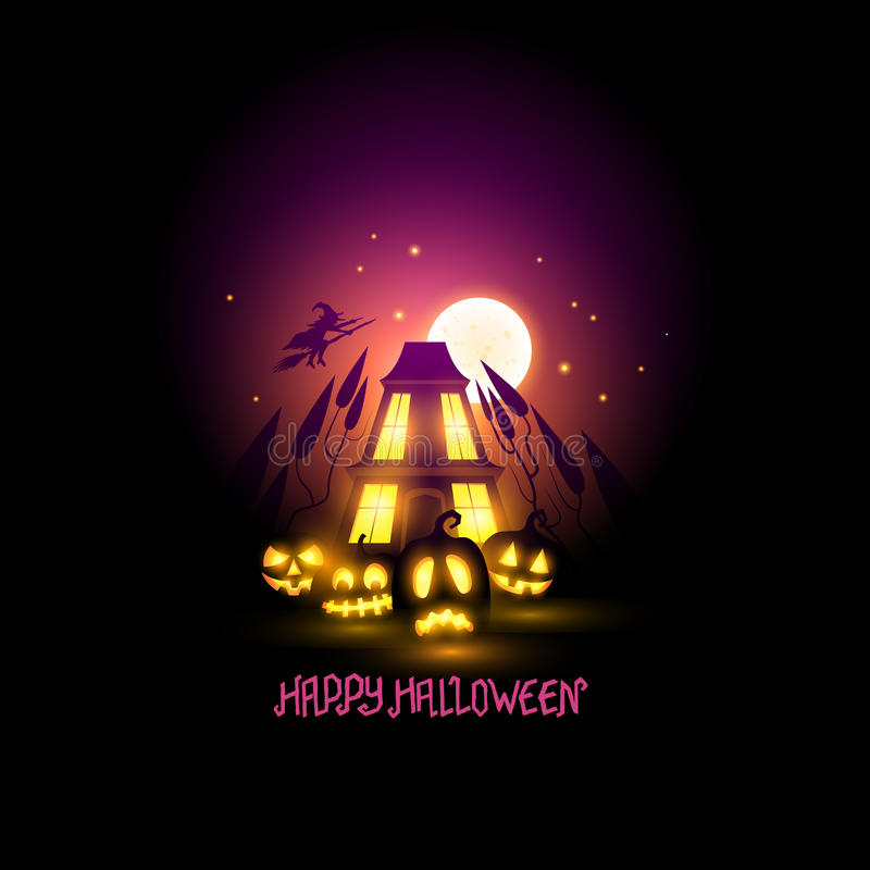 Szczęśliwy Halloweenowy Sceniczny ilustracja wektor