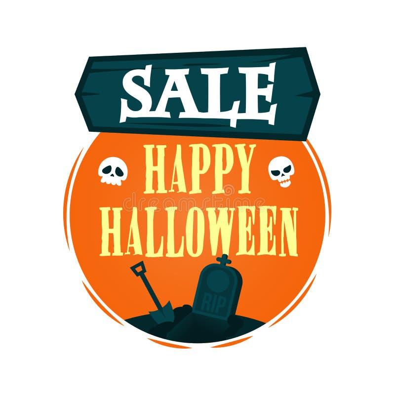 Szczęśliwy Halloweenowy sprzedaży oferty projekta szablon Wektorowa ilustracja z drewnianym znakiem i pusty grób z łopatą Odosobn ilustracja wektor