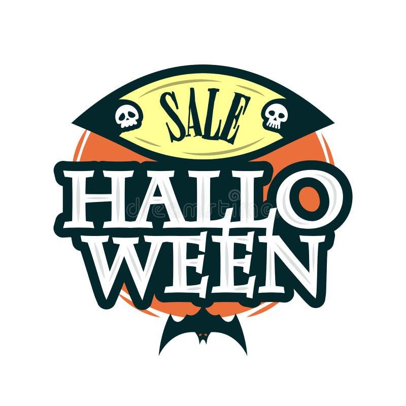 Szczęśliwy Halloweenowy sprzedaży oferty projekta szablon Wektorowa ilustracja z oryginału nietoperzem i tytułem button ręce s pu ilustracji