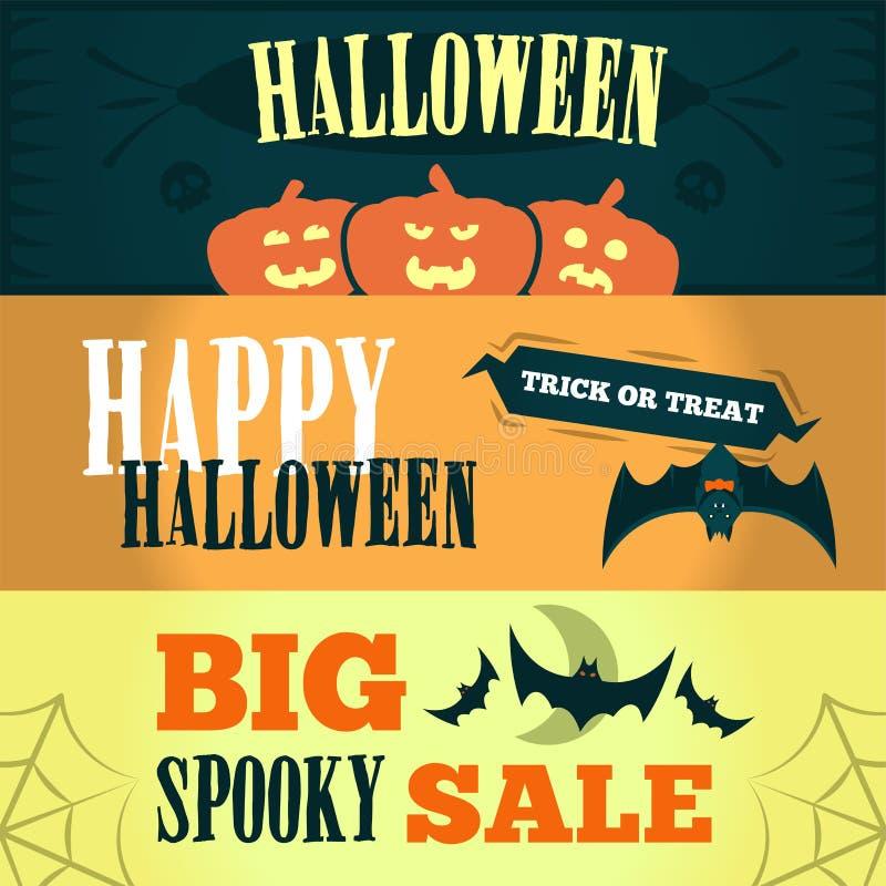 Szczęśliwy Halloweenowy sprzedaży oferty projekta szablon Wektorowa ilustracja z trzy jaskrawymi sztandarami ilustracja royalty ilustracja