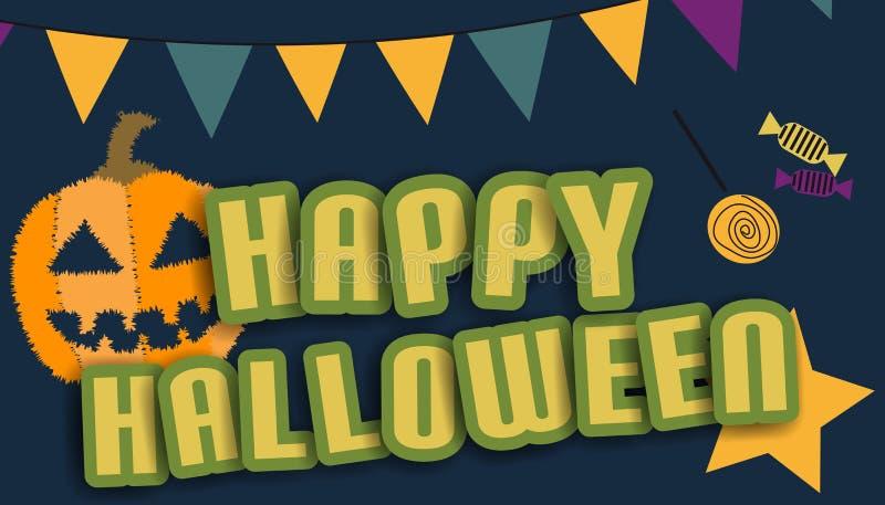 Szczęśliwy Halloweenowy tło Z banią, flaga I cukierkami, - Kolorowa Wektorowa ilustracja royalty ilustracja