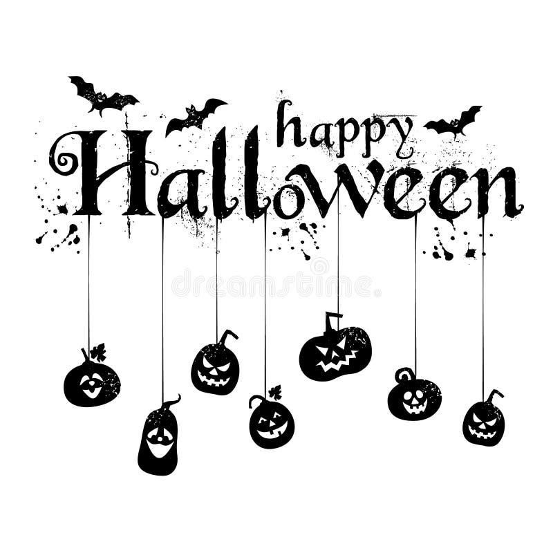 Szczęśliwy Halloweenowy teksta sztandar, wektor z pająkami royalty ilustracja