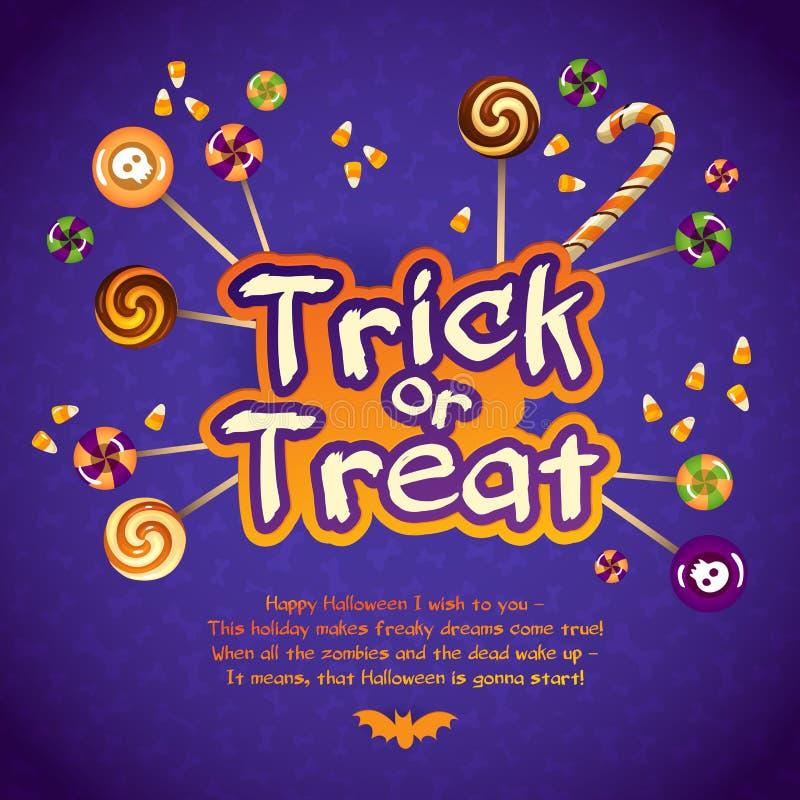 Szczęśliwy Halloweenowy Trikowy lub funda kartka z pozdrowieniami Z ilustracja wektor
