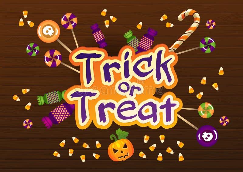 Szczęśliwy Halloweenowy Trikowy lub funda kartka z pozdrowieniami Z cukierkami na Starym sieci drewna tle royalty ilustracja