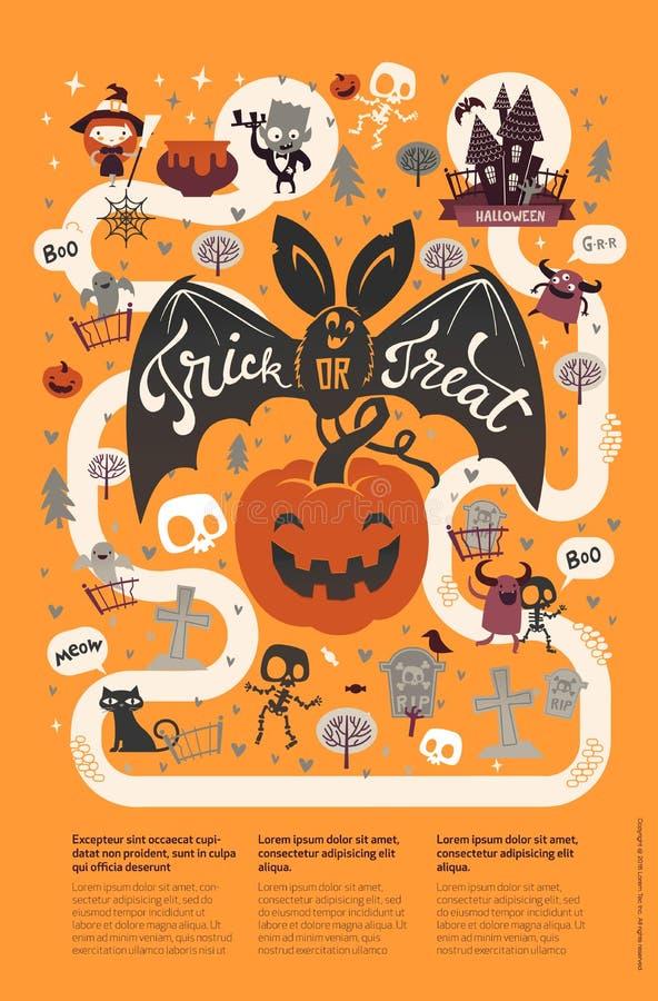 Szczęśliwy Halloweenowy ulotka szablon w płaskim stylu z postać z kreskówki, miejsce dla teksta i Wektorowa ilustracja fo royalty ilustracja